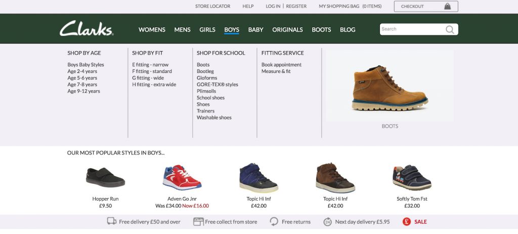 Clarks menu ux design