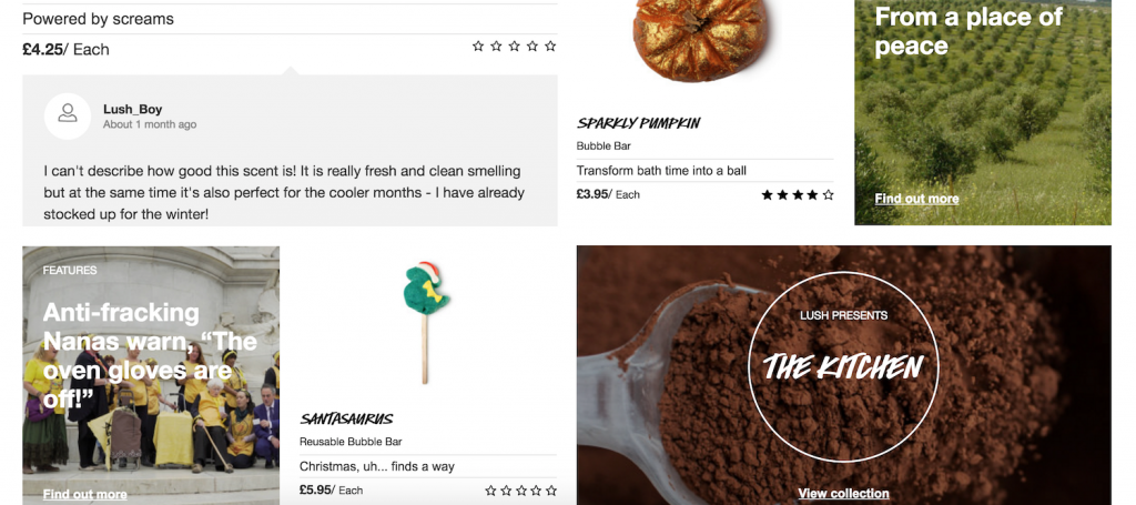 Lush homepage UX design guide