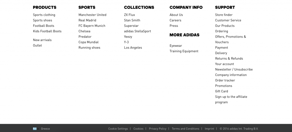 homepage footer for ecommerce ux