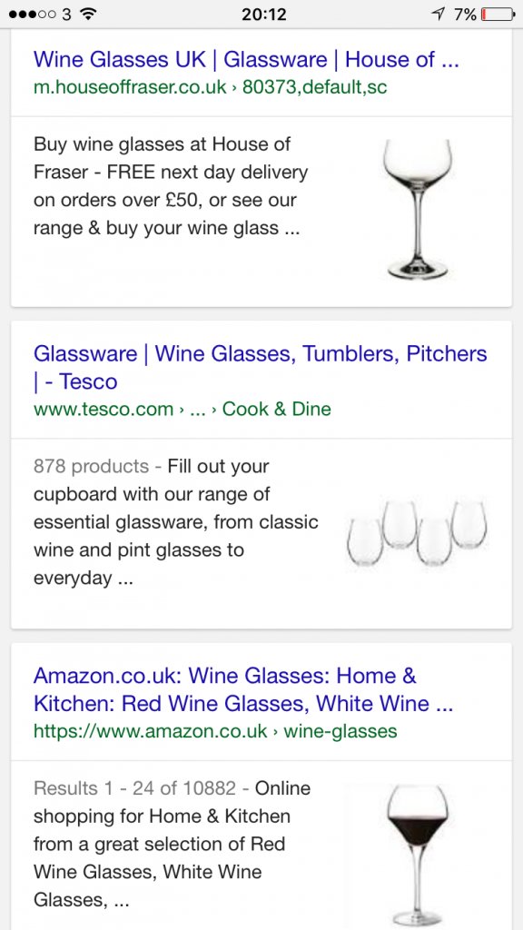 Google mobile search results product images