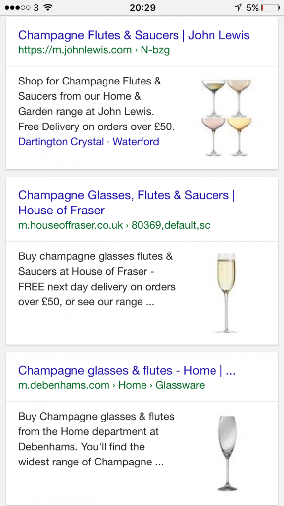 Google Mobile Search Product Image Display