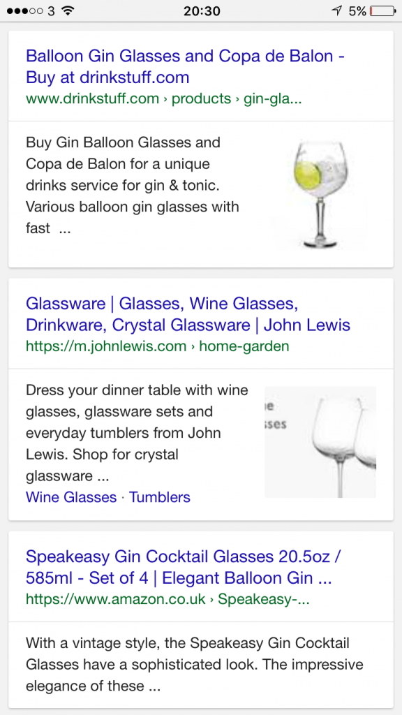 Google Product Images in Mobile Search Results