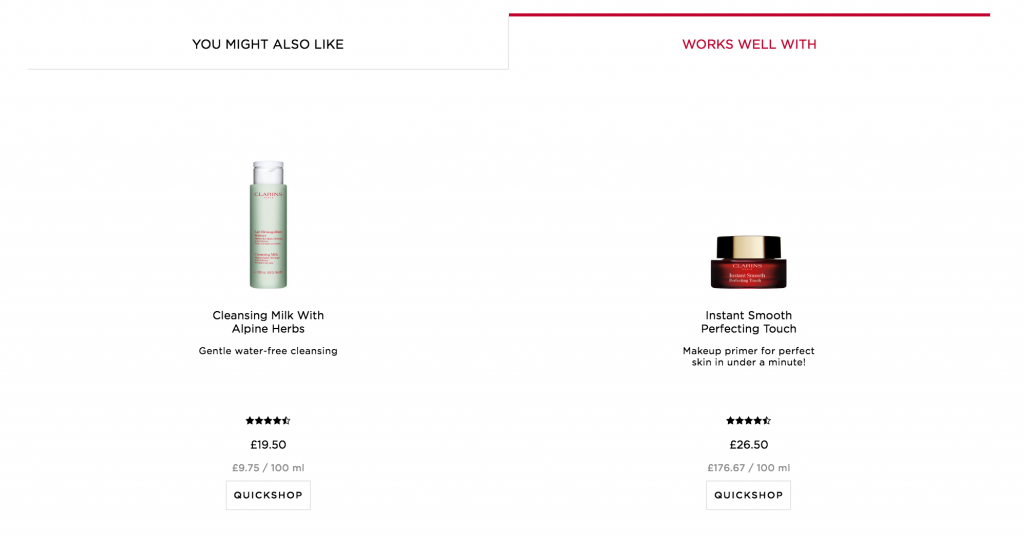 Clarins you might also like section on ecommerce site