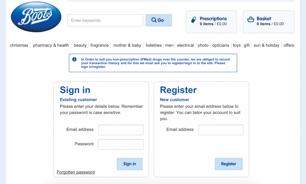 Boots checkout process for ux design