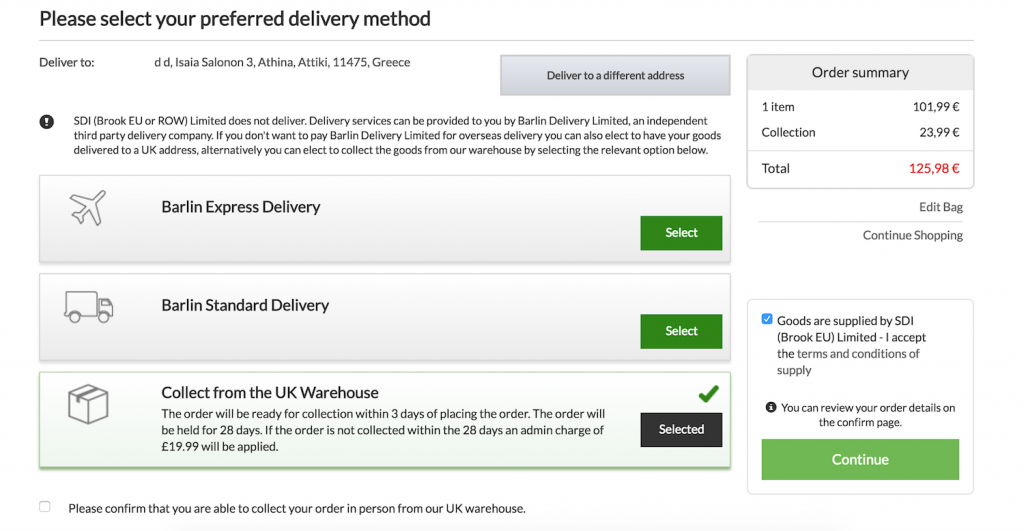 Delivery options for eCommerce