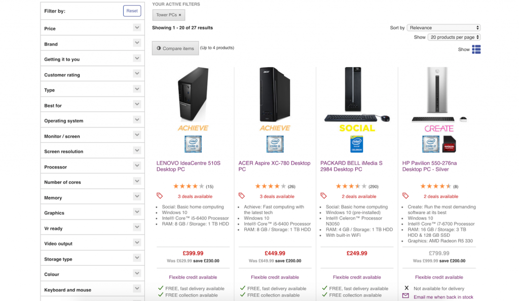 PC world category filters on product page