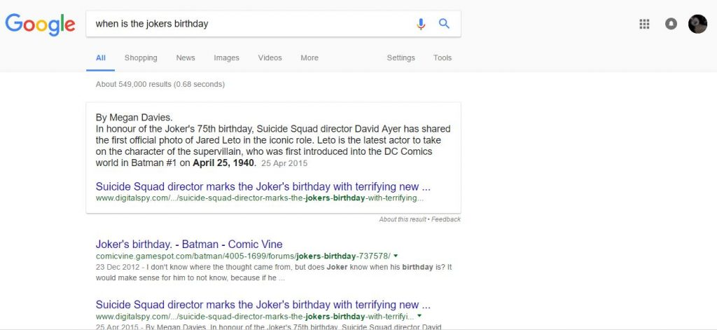 googles featured snippet
