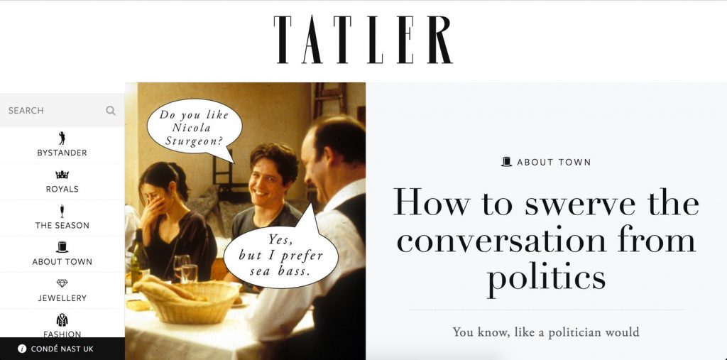 Tatler Magazine Homepage Screenshot