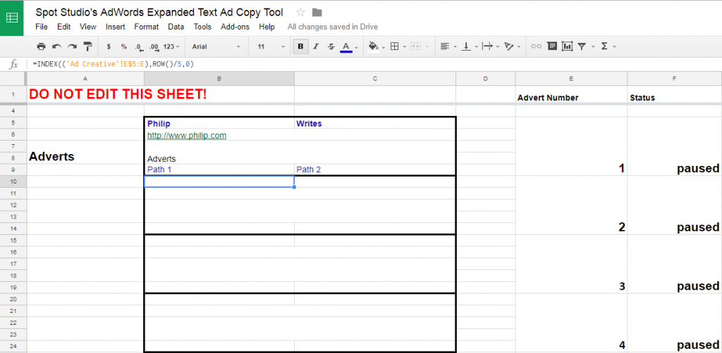 AdWords Ad Copy Preview Tool