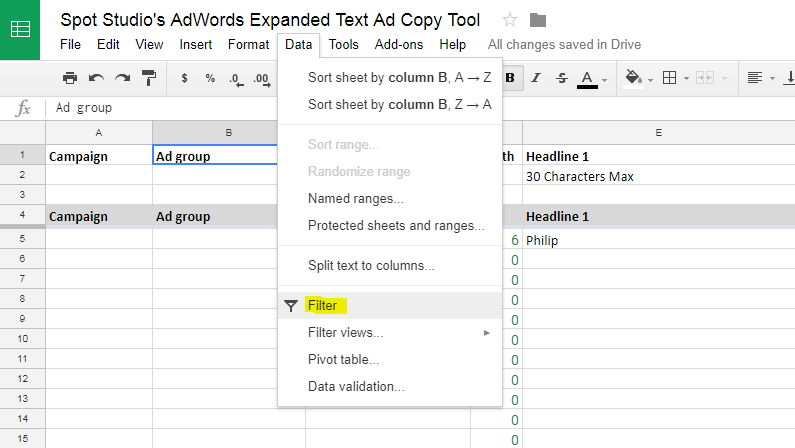Filter Ad Groups Adwords Creative