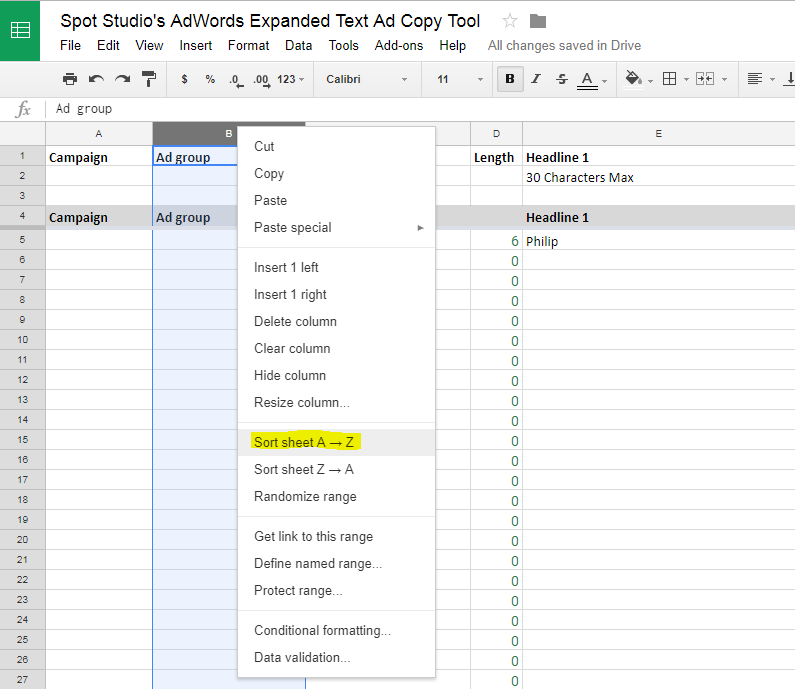 Adwords Ad Copy Tool Sort Sheet