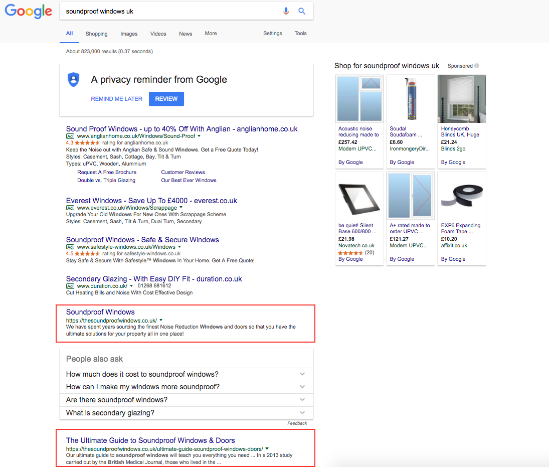 SEO Case Study Search Positions