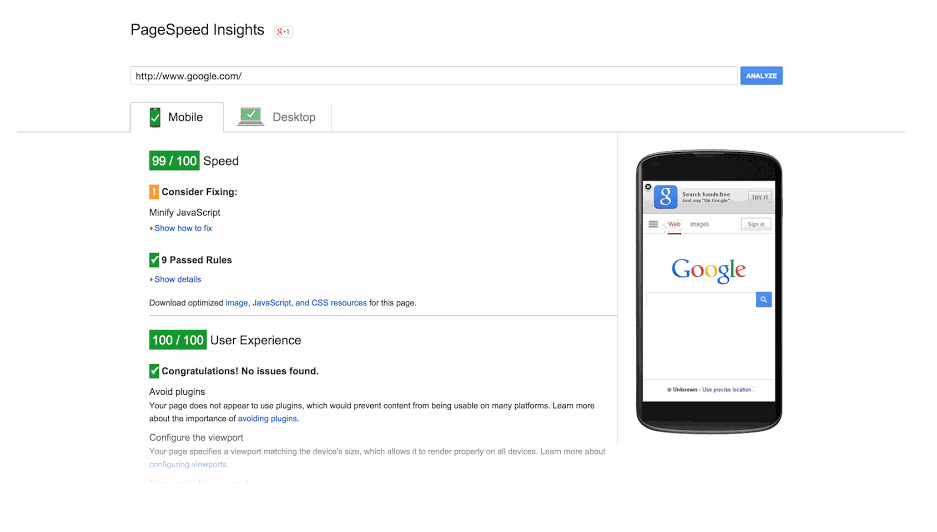 Page speed insights for mobile